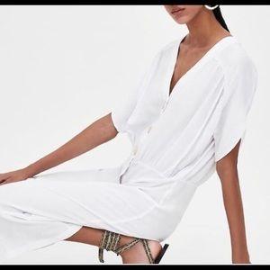 Zara Linen Rustic Casual Maxi Dress NWT